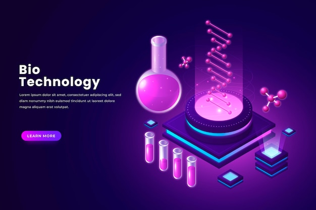 Isometric biotechnology concept illustrated
