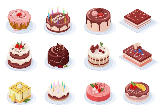 Isometric birthday event tasty strawberry, vanilla, chocolate cakes. delicious 3d frosted party cakes vector illustration set. sweet birthday cakes