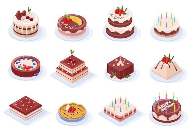 Isometric birthday party delicious chocolate glaze cakes. chocolate, strawberry or vanilla cream party event tasty cakes vector illustration set. pastry sweet 3d pies