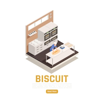 Isometric biscuit baking banner template