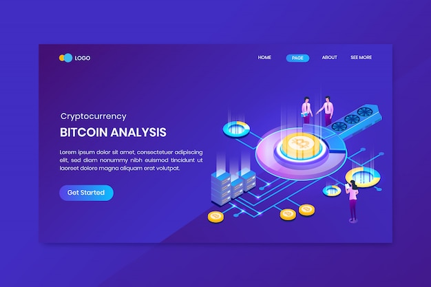Isometric bitcoin analysis landing page