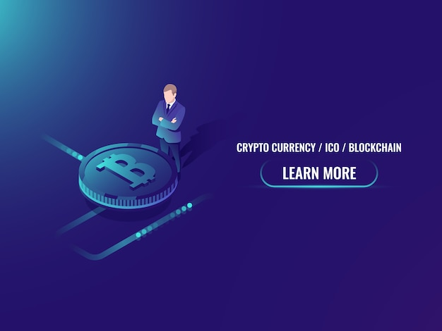 Isometric bitcoin investment and mining, cryptocurrency buy web page