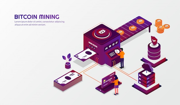 Isometric bitcoin mining concept, cryptocurrency background