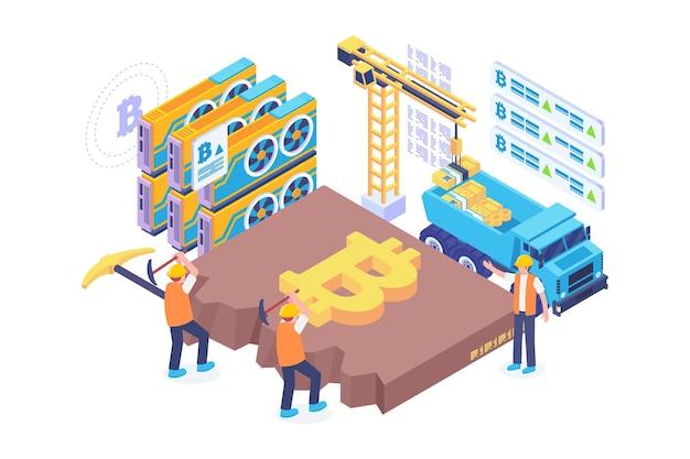 Isometric bitcoin mining concept