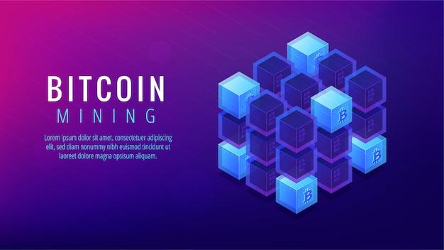 Isometric bitcoin mining farm landing page concept.