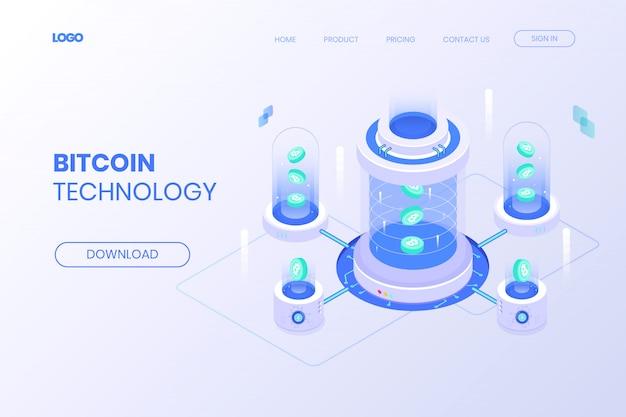 Isometric bitcoin technology landing page