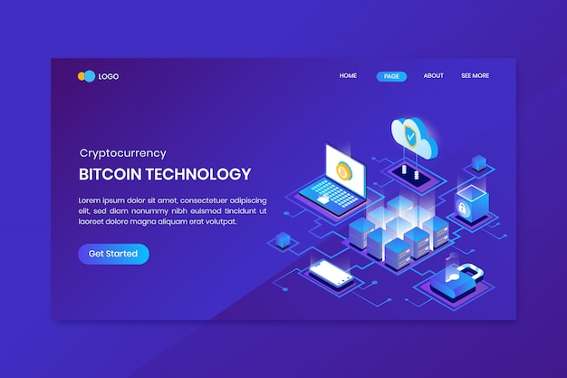 Isometric bitcoin technology landing page