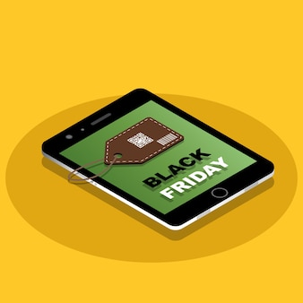 Isometric black friday sale banner on mobile with sale tag