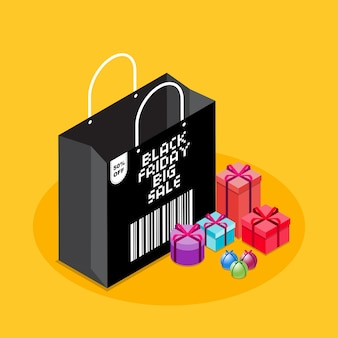 Isometric black friday sale shoping bag with gifts in yellow background plus barcode