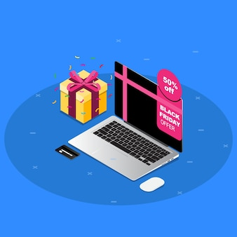 Isometric black friday sale with macbook pro and gift in blue background