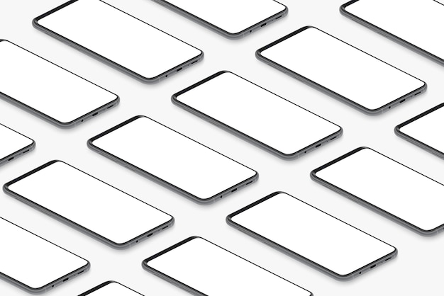 Изометрические черные реалистичные смартфоны с пустой белой сеткой экранов