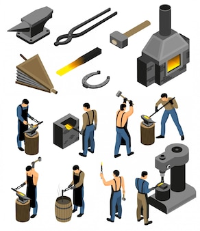 Isometric blacksmith set with isolated images of forging shop facilities and human character of iron forger