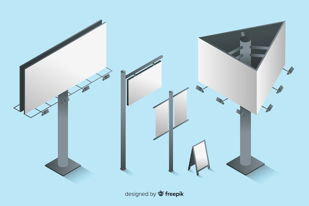Isometric blank billboard collection