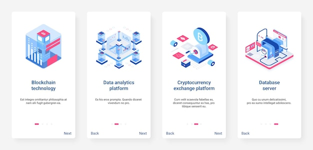 Isometric blockchain, 3d cryptocurrency ux, ui onboarding mobile app page screen set