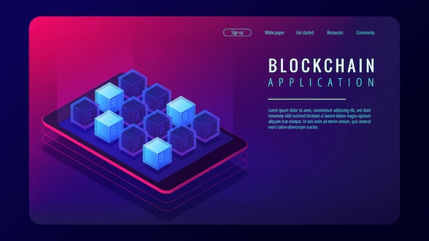 Isometric blockchain application landing page concept.