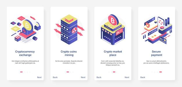 Изометрический блокчейн, криптовалюта, фондовый рынок, набор экранов страницы мобильного приложения ux ui