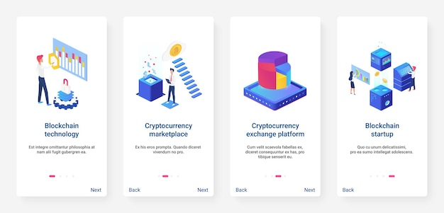 Isometric blockchain cryptocurrency startup ux onboarding mobile app page screen set