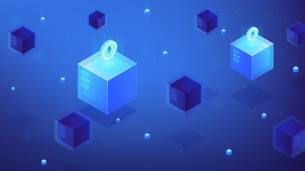 Isometric blockchain etherium cryptocurrency concept.