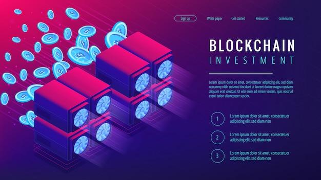 Изометрические блокчейн инвестиций целевой страницы концепции.
