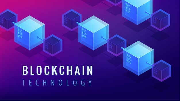 Isometric blockchain technology concept.