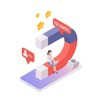Isometric blogging concept with magnet for attracting followers 3d illustration