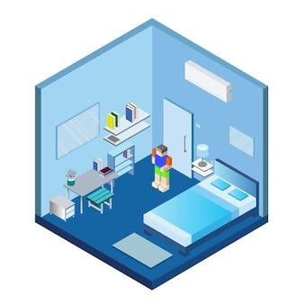 Isometric blue bedroom