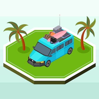 Isometric blue camper van carrying some picnic supplies