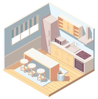 Isometric blue kitchen interior with kitchenware, refrigerator and microwave oven.  illustration