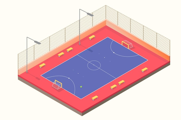 Isometric blue and red futsal field