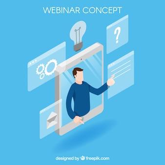 Isometric blue webinar concept