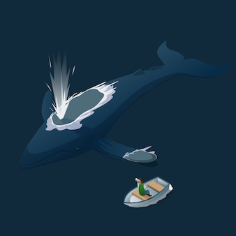 Isometric blue whale photo hunt