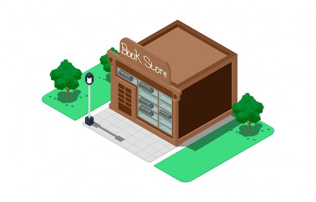 Isometric book shop illustrations