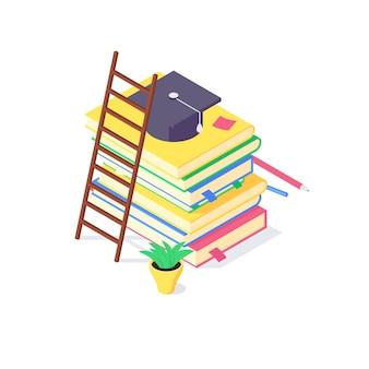 아이소 메트릭 책 대학 및 학교 교육 과학 연구 대학 교육은 지식 그림을 배웁니다. 흰색 배경에 고립 된 대학 교과서 개념을 공부하는 책의 스택
