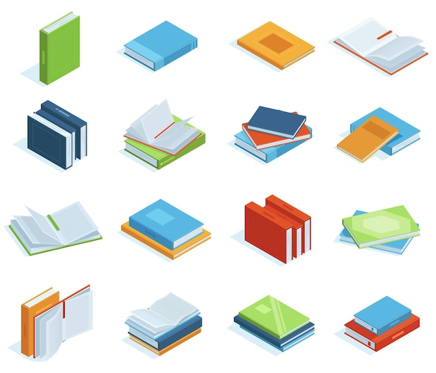 Isometric books. bookstore or library books, education brochure, encyclopedia, textbooks or classic literature vector illustration set. school isometric books