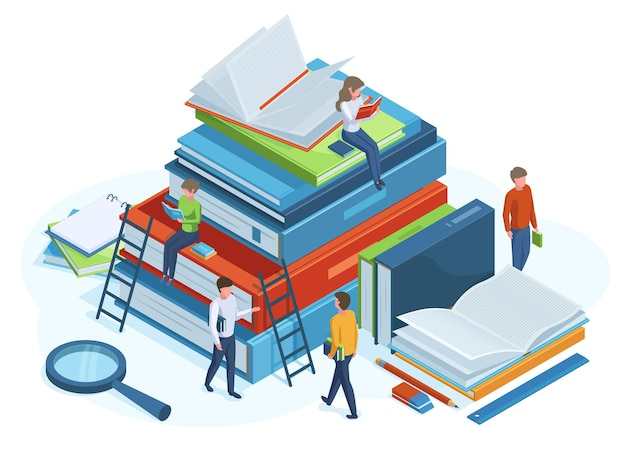Isometric books concept. reading people on huge 3d pile of books, male and female characters read books vector illustration. library isometric concept