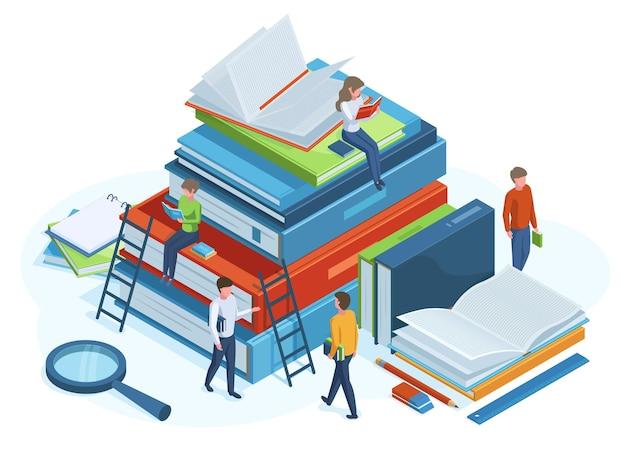 아이소메트릭 책 개념입니다. 거대한 3d 책 더미에 있는 사람들을 읽고, 남성과 여성 캐릭터는 책 벡터 삽화를 읽습니다. 도서관 아이소메트릭 개념