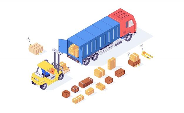 等尺性ボックス貨物フォークリフトトラックパレットとフォークリフト商品の読み込み。配信とロードの図。ボックスフォークリフトパレットトラックは、白い背景で隔離。物流コンセプト