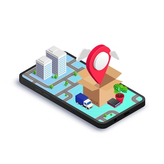 Isometric box with map pointer, van and home furniture on smartphone screen with 3d city map. relocation service app, transport company, moving to new house or office concept.