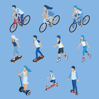 Isometric boy, girl and kid riding bicycle