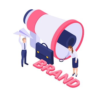 Isometric brand  with megaphone and people  illustration
