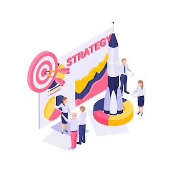 Isometric branding strategy concept with rocket target characters colorful diagram  illustration