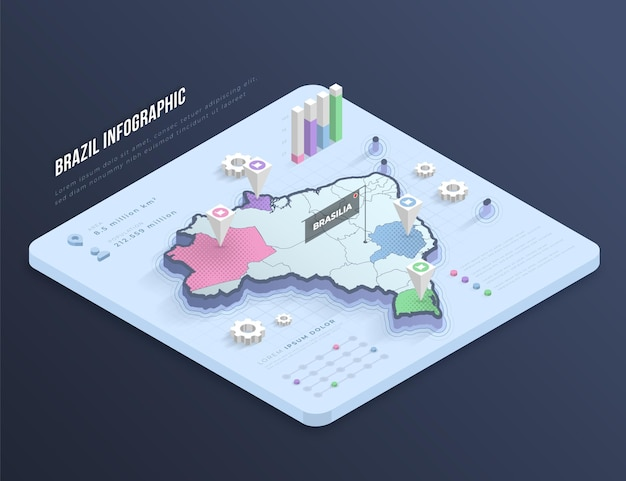 Mappa isometrica del brasile infografica