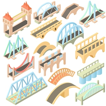Isometric bridges icons set