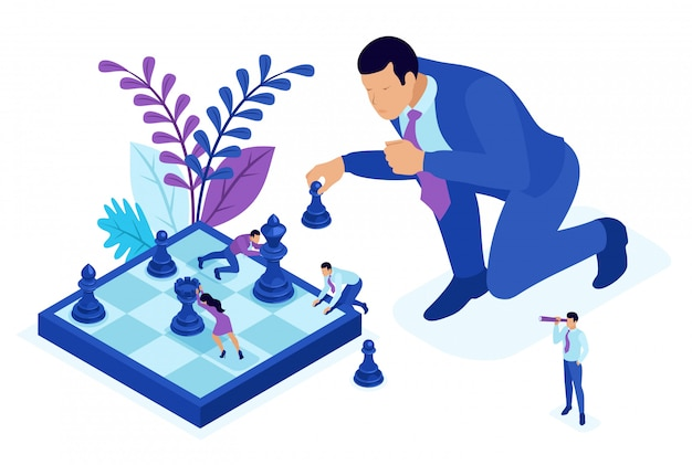 Isometric bright concept big business makes an informed decision, chess game, growth strategy. concept for web