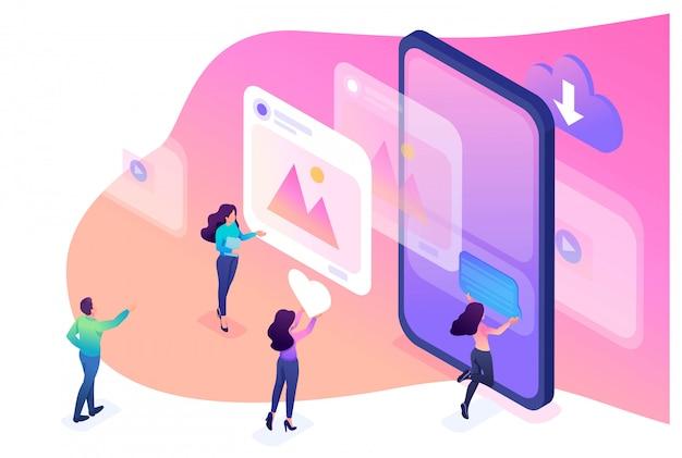 소셜 네트워크에서 올바른 프로필 디자인을 배우는 등각 투영 밝은 개념. 웹 디자인에 대한 개념