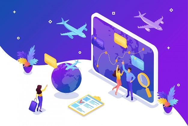 Isometric bright concept site concept tourists look at the globe and choose the direction to relax. concept for web