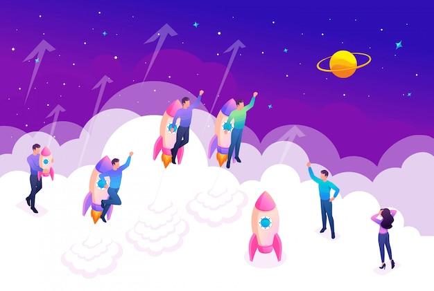 等尺性の明るいコンセプトの若い起業家はリーダーシップを競います。