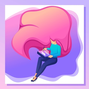 Isometric bright concept young woman, designer, freelancer draws on tablet