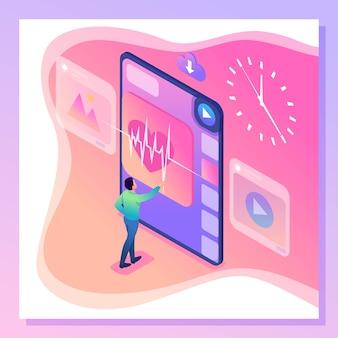 Изометрические яркий человек концепция работает на виртуальном экране, здравоохранение