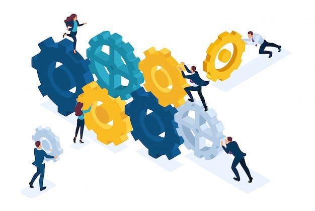 Концепция изометрические яркий сайт концептуальное изображение бизнес команды, работающей слаженно. взаимодействие и единство. концепция для веб-дизайна